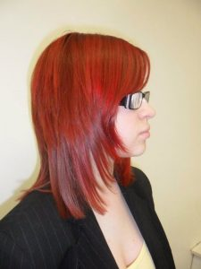 applying red colour to hair stage 6