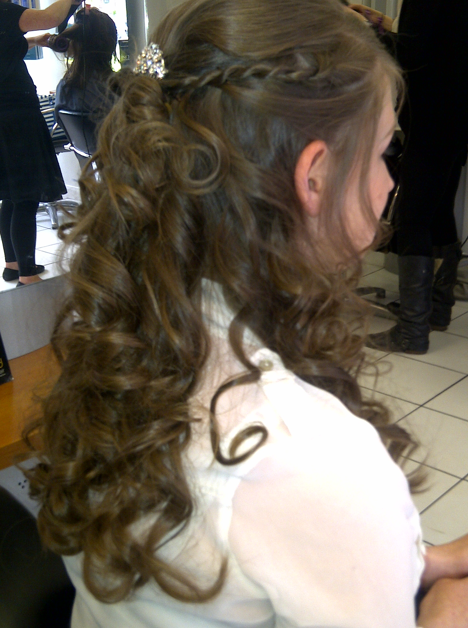 Prom Half Up Hair on Long Brown Hair