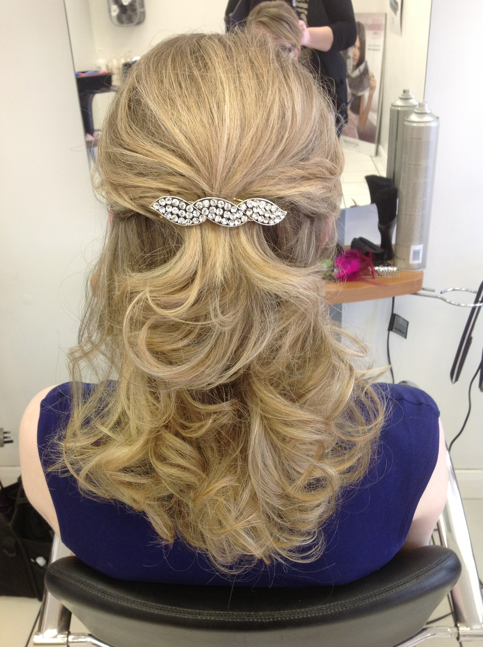 Prom Half Up Hair Style on Blonde Hair