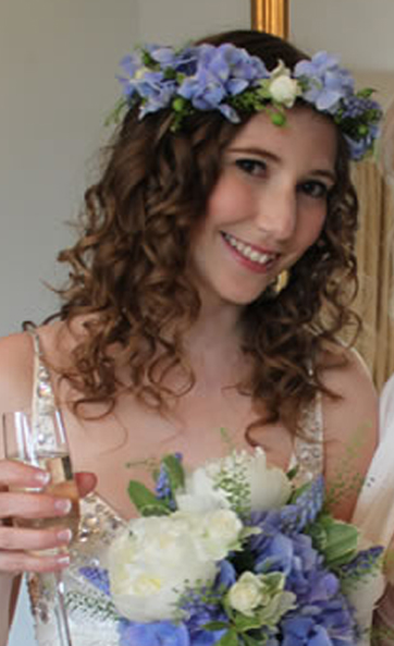 Wedding Hair Style on Brown Hair with Flowers