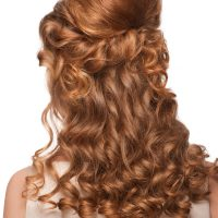 Wedding Hair Half Up Style on Red Hair