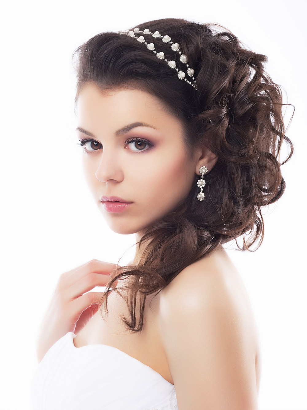 Wedding Hair Half Up Style on Dark Hair